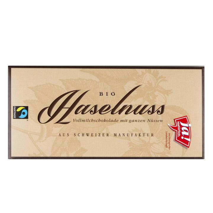 Bio-Vollmilchschokolade mit ganzen Haselnüssen