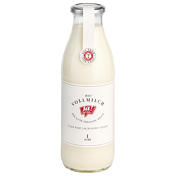 Bio-Milch in der Glasflasche