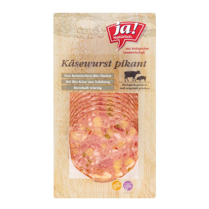 Bio-Käsewurst pikant in Scheiben