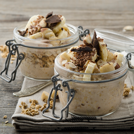 Ahorn-Knusper-Dessert mit Bananensplit-Joghurt