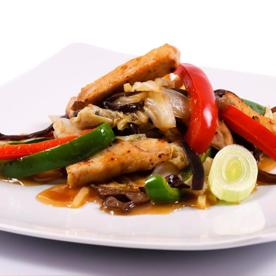 Shiitake Wok mit Hühnerstreifen