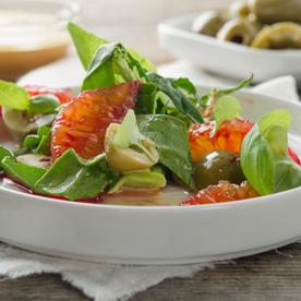 Puntarelle mit Blutorangen, Sardellen und Oliven