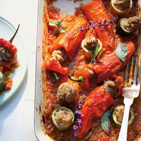 Gefüllte Paprika & Zucchini mit Lammfaschiertem