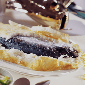 Forelle in der Salzkruste mit Eräpfel-Lauch-Gemüse