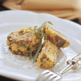 Gefüllte Austernpilze mit Kräuterjoghurt