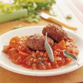 Tomaten-Dinkelreis-Ragout mit Faschierten Laibchen