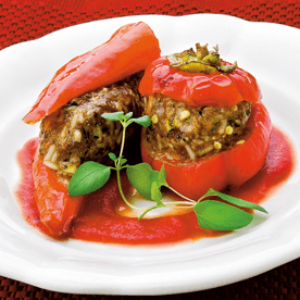 Gefüllte Paprika mit Gemüse und Reis