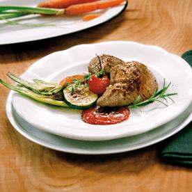 Gegrillte Kalbsvogerl mit mariniertem Gemüse