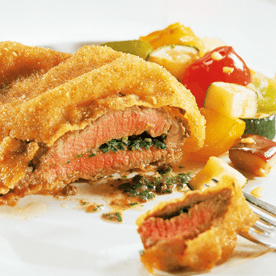 Gebackene Kräuterschnitzel mit Balsamicogemüse