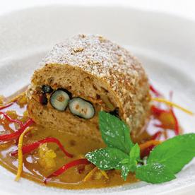 Gebackener Walnussspitz mit Nougat-Orangensauce