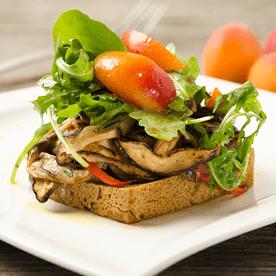 Rucola-Salat mit gebratenen Pilzen und Marillen (vegan)