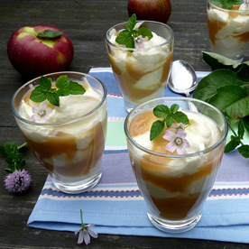 Apfelkompott mit Zitronen-Mascarponecrème