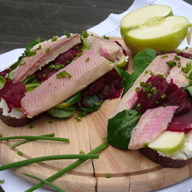 Geröstetes Brot mit Saiblingsfilet und Apfel-Vogerlsalat