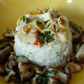 Risotto al Limone mit gebratenen Shiitake-Pilzen