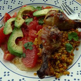 Limetten-Hühnerkeulen mit Curry-Linsen-Gemüse