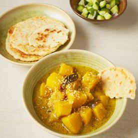 Kürbis-Curry mit Kokos-Roti
