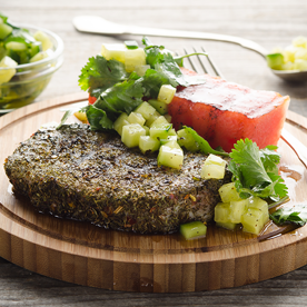 Freilandschweinerücken mit gegrillter Wassermelone & Gurken-Koriander-Salsa