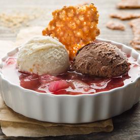 Schokoladen-Vanille-Eis mit Rhabarber-Sauce und Nusskrokant