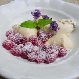 Lavendelcrème mit gezuckerten Himbeeren