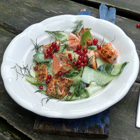 Sommerlicher Gurkensalat mit Lachs und Ribisel